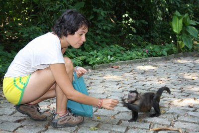 Laura giving some cookies to one of the brave monkeys that got close