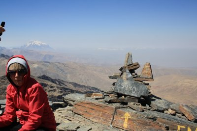Laura resting up after getting to the top of Chacaltaya 5420 meters above sealevel