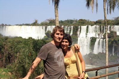 Posing up in front of some of the smaller falls on the Argentinian side