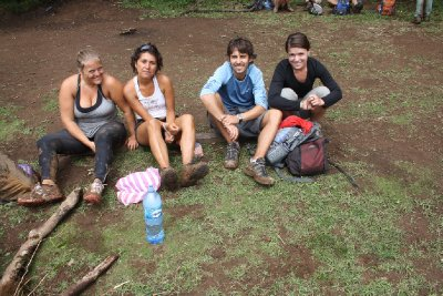 Exhausted and covered in mudd after a solid 4 hours climb to the top of the volcano
