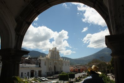 Antigua´s main square with local cowboy in front