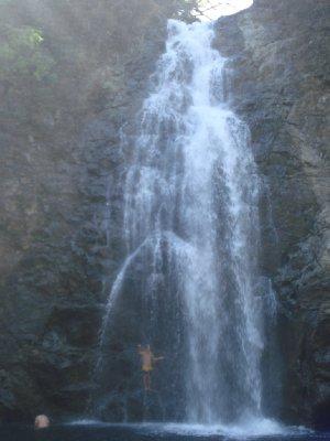 Henrik hiding behind one of the waterfalls