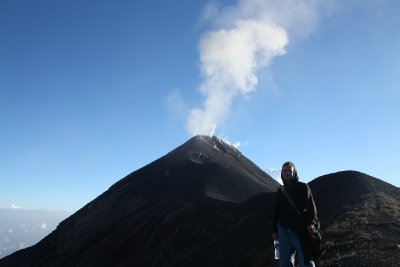 Henrik posing up in front of the volcano