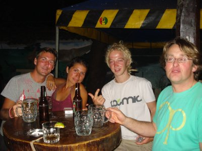 Happy times in San Juan del Sur, me, Laura, Jonny and some other guy hanging out in the bar