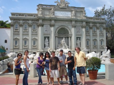 The gang posing up in front of some Roman palace or something at the largest theme park in Central America