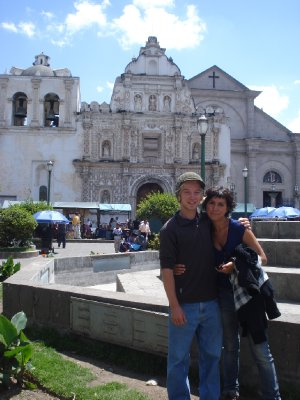 Saying goodbye to Jonny on the main plaza in Xela