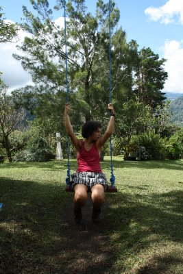 One of the swings in the Eco garden