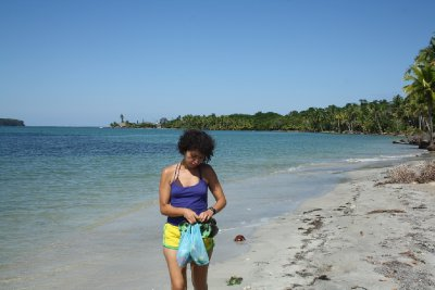 Walking out on remote beach