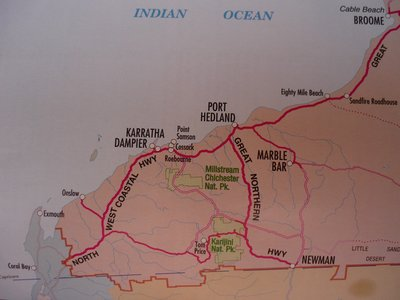 Broome to Coral Bay map