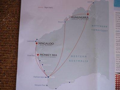 Darwin to Perth simple map