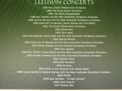 list of entertainers who have performed at Leeuwin estate