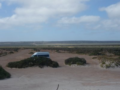 looking at the escarpment at our caravan park at Eucla