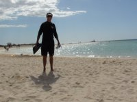 the 'fish whisperer' returning from a big day of snorkelling at Ningaloo reef