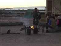around the campfire at the station