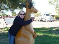 hugging stuffed 'roadkill'