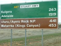 kms from Alice to anywhere in the red centre