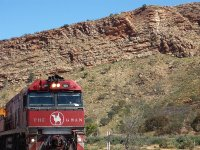 The Ghan coming into Alice Springs