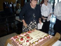 the Speaker cutting cake at Parliament House