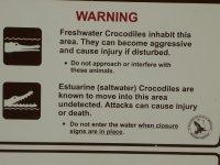 signage at Wangi Falls waterhole