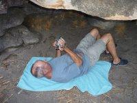 Geoff videoing Aboriginal rock art