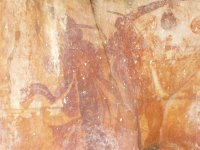 Bradshaw rock art (Aboriginal) which has peg people with sashes around the waist