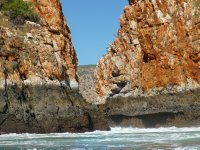 the gap between the rocks