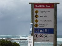 Peaceful Bay warning sign!