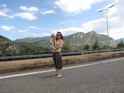 Olga and Joey on the road to Marmari