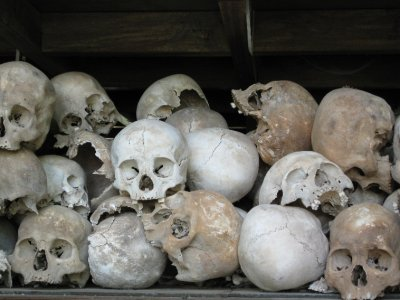 Skulls at the Killing Fields... just some of them...