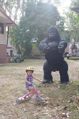 Nadia and a Gorilla sculpture