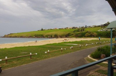 Looking out over Easts Beach from our cabin in Kiama