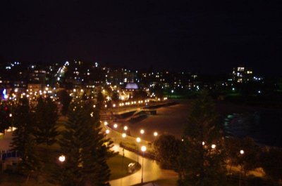 Coogee Beach at night from our balcony