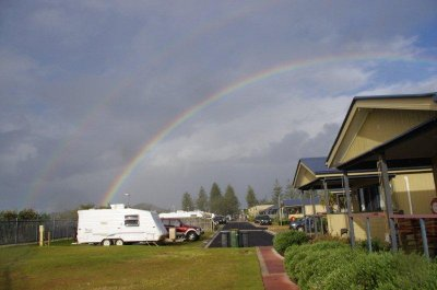 Rainbow over the caravan park