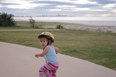 Nadia on the bike - Surfers Paradise on the horizon
