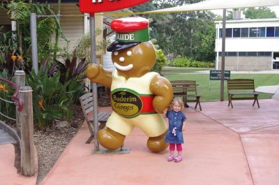 Nadia meets the Gingerbread Man at Yandina Ginger Factory