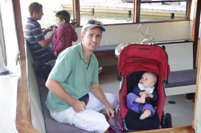 Greg and Isaac ride the Noosa River Ferry