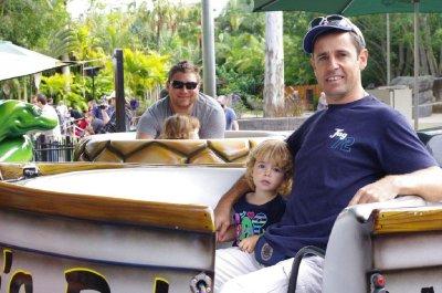 Matt and Tia and Greg and Nadia ride the rides at Australia Zoo