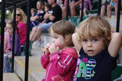 Nadia and Tia watch the live crocodile show at Australia Zoo