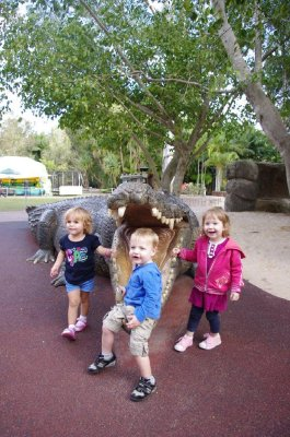 Nadia, Max and Tia get up close and personal with a croc at Australia Zoo