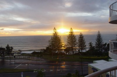 Sunrise over Mooloolaba beach, from our apartment