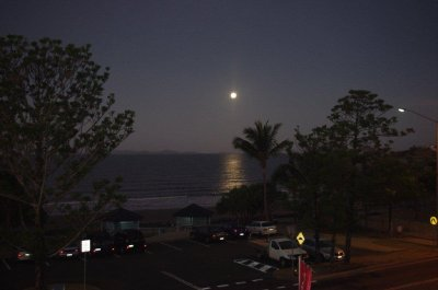 Full moon rises over Main Beach, Yeppoon
