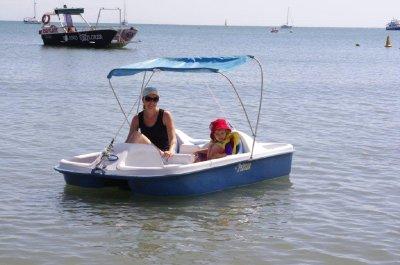 Jane and Nadia take a paddleboat ride