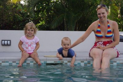Nadia, Isaac and Jane at the Mission Beach Holiday House pool