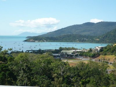 Looking down over Airlie Beach from our apartment balcony