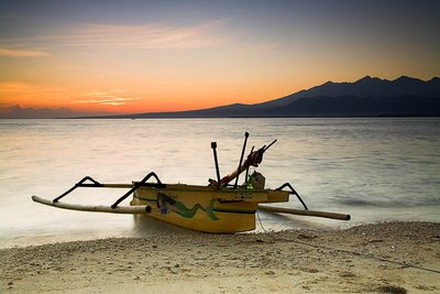 Fishing boat at dawn on Gili Air