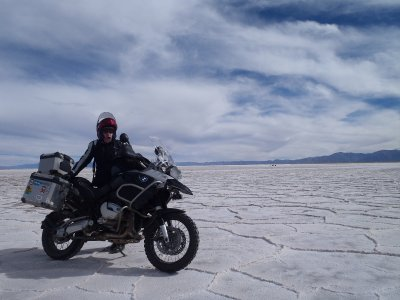 April and Bike on Salt Flats