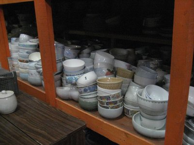 prop room.  that's a lot of rice bowls.