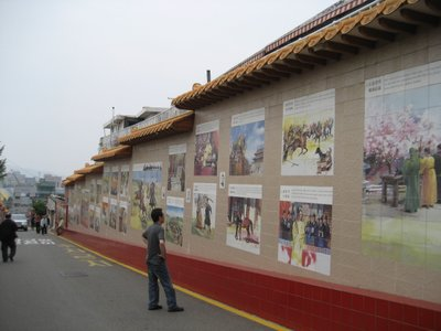This wall tells the story of fictional warriors in chinese folklore
