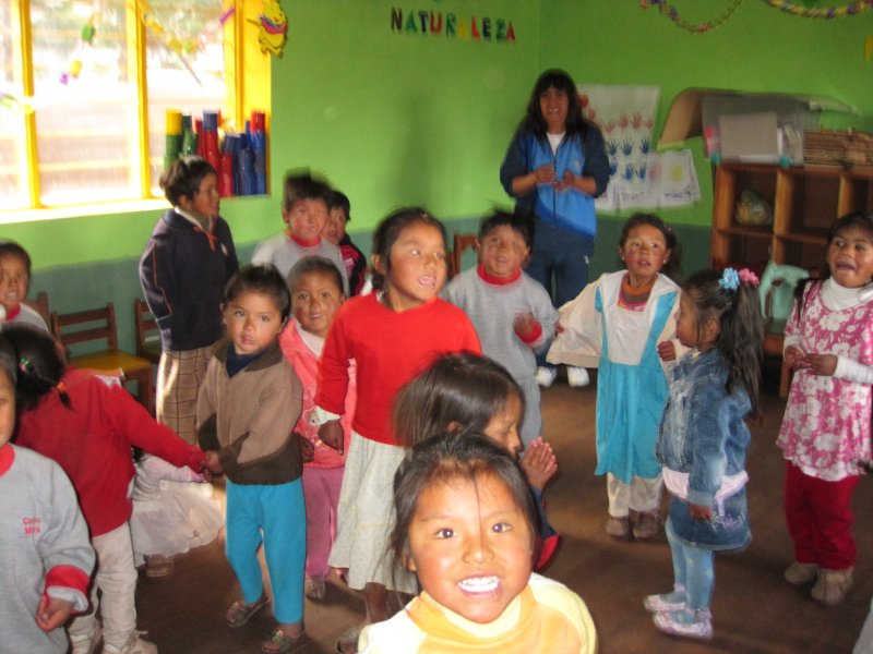 The children having a party to celebrate the anniversary of the kindergarten