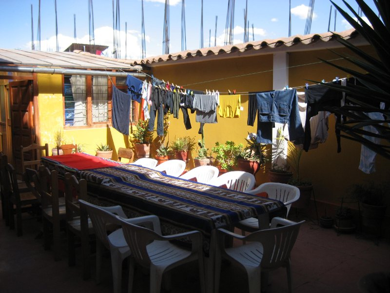 The courtyard in the volunteer house, where we have group meals